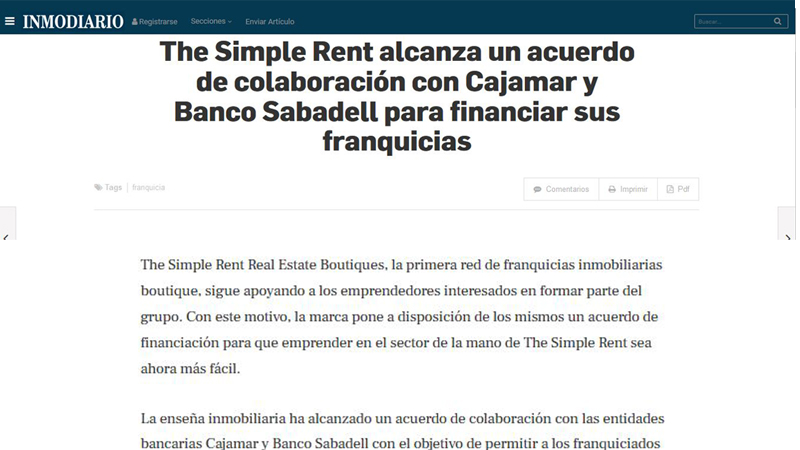 The Simple Rent firma un acuerdo con Cajamar y Banco Sabadell para financiar sus franquicias.
